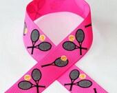 7/8 Tennis Love on Hot Pink Grosgrain Ribbon 3 yards