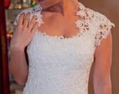 Yvonne-Handmade Stunning Sexy Above knee  Alencon Lace Wedding Dress with Bolero Wrap-CRBoggs Original One of a Kind