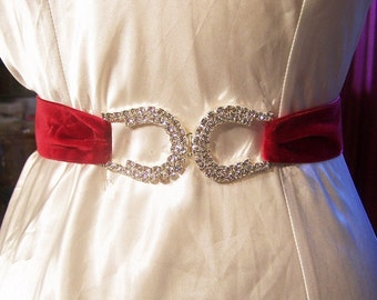 Red Velvet Sash/Bridal Belt with Czech Rhinestone Horseshoe Buckle-Valentine-Holiday-Patriotic-Equestrain-CRBoggs Original Design