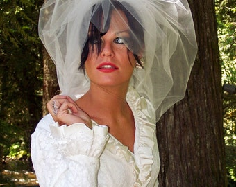 Full Illusion Tulle Bubble Veil with Angled Blusher  CRBoggs Signature veil Original Design