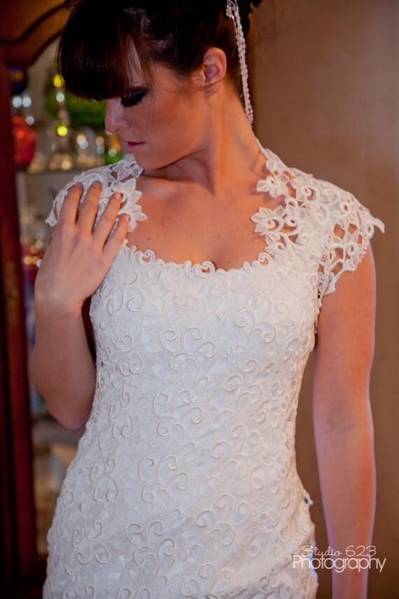 Yvonne- Sheath Styled Wedding Dress with Bolero Wrap-Alencon Lace-OOAK-CRBoggs Original One of a Kind