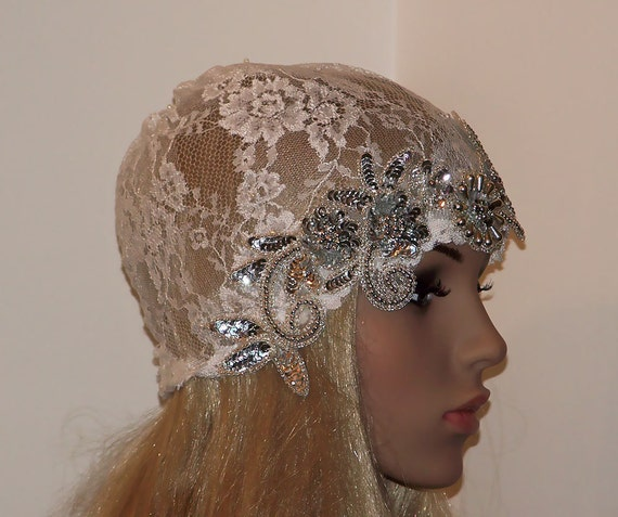 Great Gatsby Revival-Haute Couture White lace Rhinestone Silver Bead embellished Bridal Cap-CRBoggs Original Design