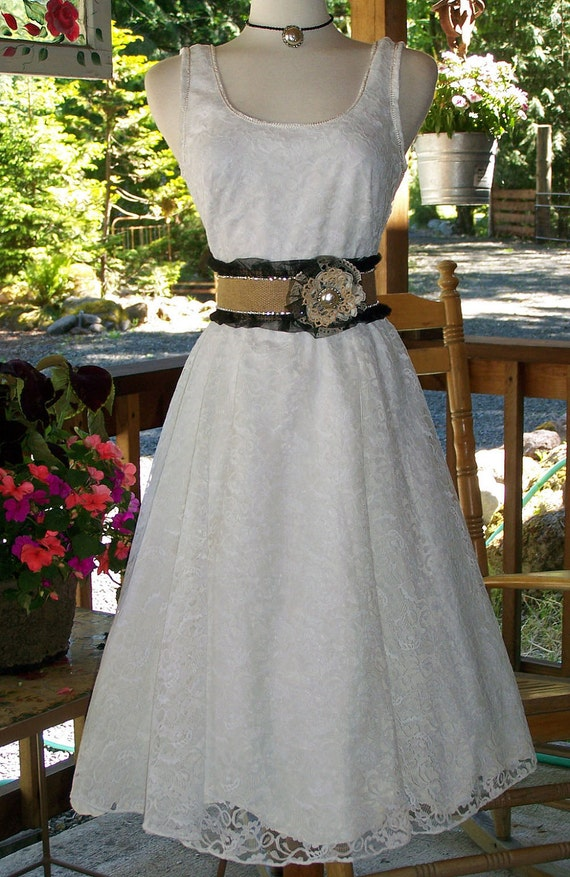 Country Cowgirl Chic Corset Satin Burlap Belt Antique Lace Rosette-CRBoggs Designs
