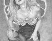 Original graphite drawing of Fairy