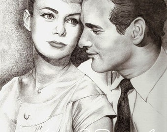 Paul Newman Joanne Woodward Original Drawing