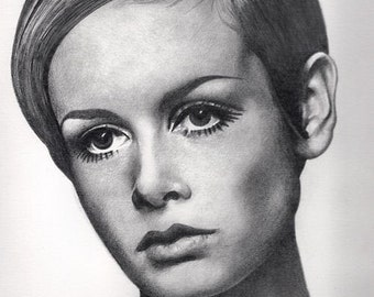 Twiggy Original Drawing