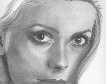 Original drawing of  Catherine Deneuve