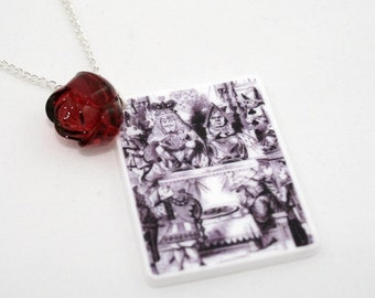 SALE King and Queen Necklace, Tenniel Illustration, Alice In Wonderland
