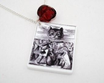 SALE Cheshire Cat Necklace, Tenniel Illustration, Alice In Wonderland