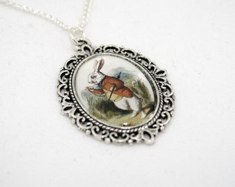 Alice In Wonderland White Rabbit Cameo Necklace