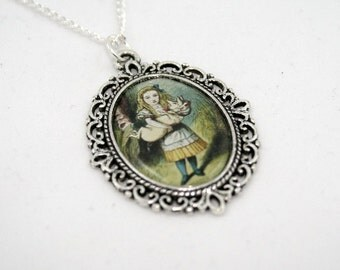 Alice In Wonderland Pig Baby Cameo Necklace