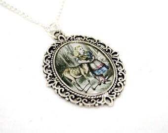 Alice In Wonderland Deer Cameo Necklace