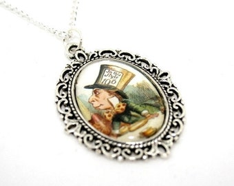 Mad Hatter Cameo Necklace, Alice In Wonderland Necklace, Tenniel Illustration, Alice Jewelry