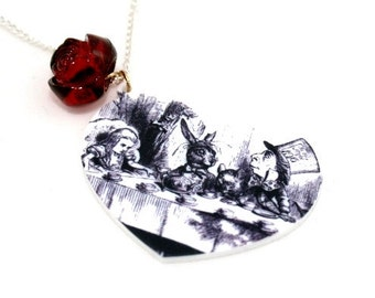SALE Mad Hatter's Tea Party Necklace, Mad Hatter, Tea Party, Alice In Wonderland Necklace, Tenniel Illustration, Alice Jewelry