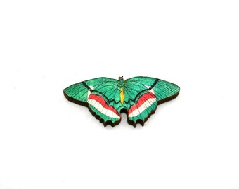 Green Butterfly Brooch, Wooden Butterfly Accessory, Butterfly Illustration, Butterfly Badge, Animal Brooch, Woodland, Wood Jewelry