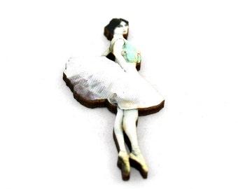 Pink and Green Ballerina Brooch, Wood Accessory, Dancer Illustration, Ballerina Badge, Wood Jewelry