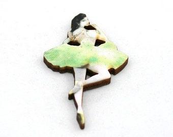 Green Ballerina Brooch, Wood Accessory, Dancer Illustration, Ballerina Badge, Wood Jewelry