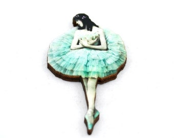 Mint Green Ballerina Brooch, Wood Accessory, Dancer Illustration, Ballerina Badge, Wood Jewelry