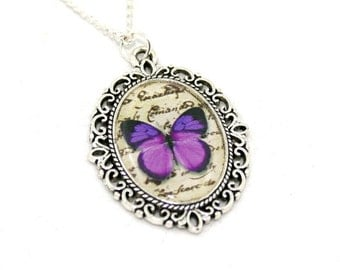 Purple Butterfly Necklace, Cameo Necklace, Nature Illustration, Insect Pendant, Animal Necklace