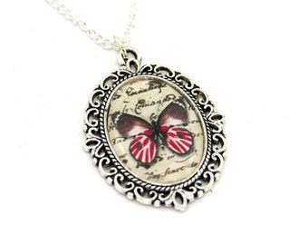 Black Red Butterfly Necklace, Cameo Necklace, Nature Illustration, Insect Pendant, Animal Necklace