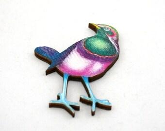 Green Bird Brooch, Pink Bird Brooch, Wooden Bird Brooch, Bird Illustration, Animal Brooch, Wood Jewelry