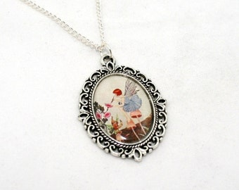 Pink Flower Fairy Necklace, Pink Fairy Cameo, Faerie Illustration