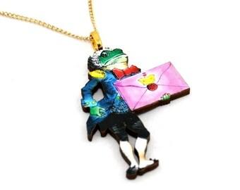 SALE - Frog Footman Alice In Wonderland Necklace Tenniel Illustration, Wood Jewelry