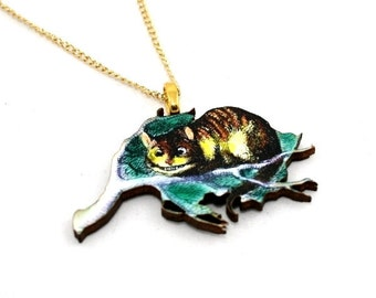 Cheshire Cat Alice In Wonderland Necklace Tenniel Illustration, Wood Jewelry