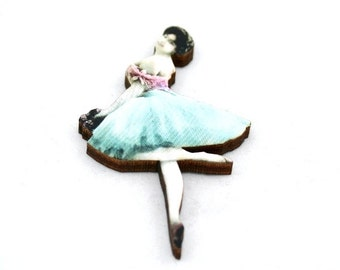 Blue and Pink Ballerina Brooch, Wood Accessory, Dancer Illustration, Ballerina Badge, Wood Jewelry