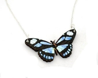 Black & Blue 'Dido Longwing' Butterfly Necklace, Wood Pendant, Illustration Jewelry, Woodland, Animal Necklace, Wood Jewelry