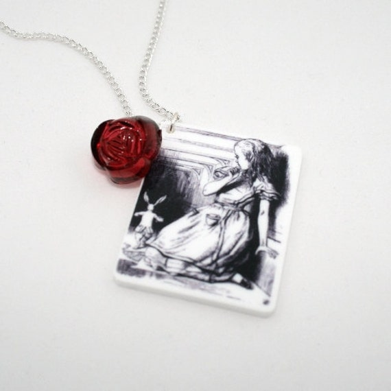 SALE Follow The Rabbit Necklace, Tenniel Illustration, Alice In Wonderland