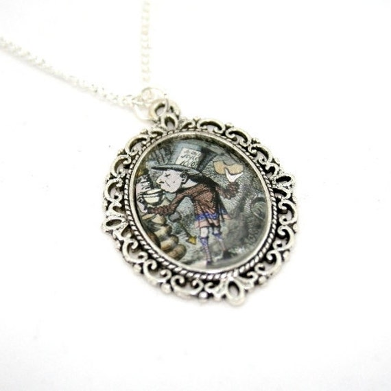 SALE - Mad Hatter Cameo Necklace, Alice In Wonderland Necklace, Tenniel Illustration, Alice Jewelry