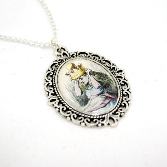 SALE - Alice In Wonderland Queen Alice Cameo Necklace Tenniel Illustration