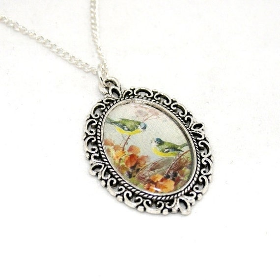 Green Bird Necklace, Blue Tits Necklace, Bird Cameo, Bird Illustration Pendant, Woodland, Animal Necklace