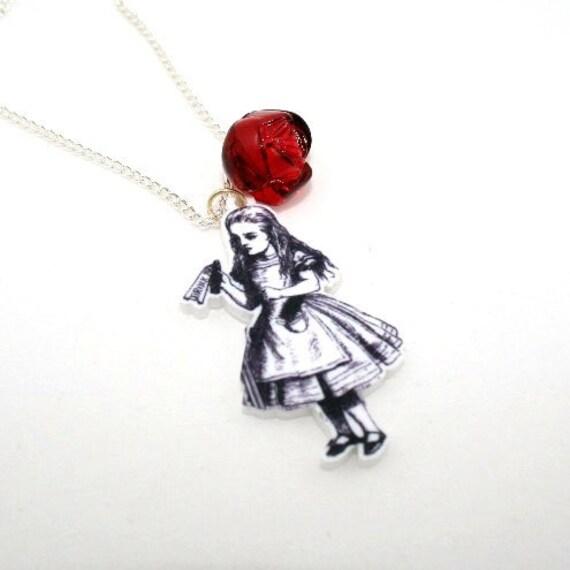 SALE Drink Me Necklace, Alice In Wonderland Necklace, Tenniel Illustration, Alice Jewelry