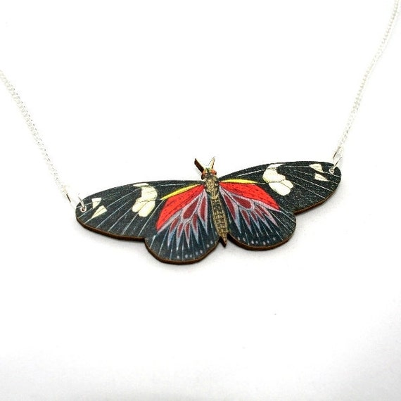 Black & Red 'Doris Longwing' Butterfly Necklace, Wood Pendant, Illustration Jewelry, Woodland, Animal Necklace, Wood Jewelry