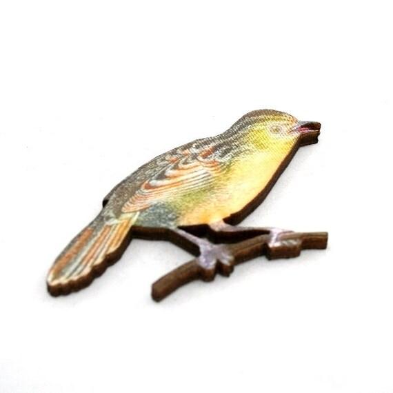 Brown Bird Brooch, Wooden Bird Brooch, Bird Illustration, Woodland, Wood Jewelry