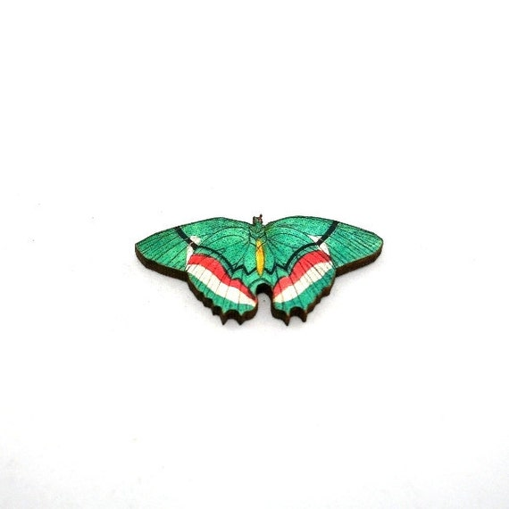 Green Butterfly Brooch, Wooden Butterfly Accessory, Butterfly Illustration, Butterfly Badge, Animal Brooch, Woodland, Wood Jewelry