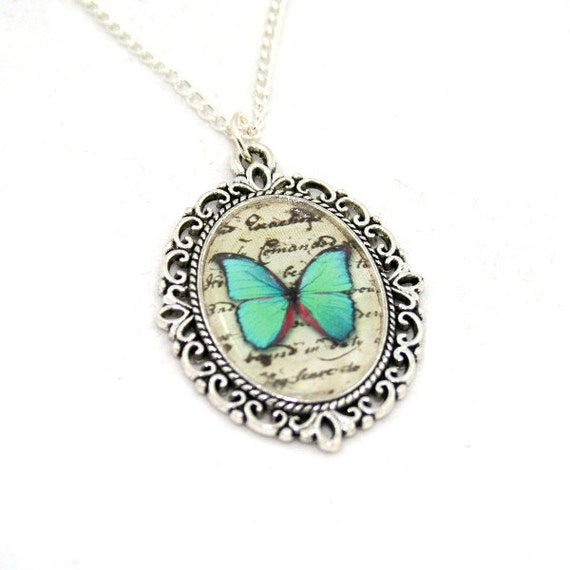 Green Butterfly Necklace, Cameo Necklace, Nature Illustration, Insect Pendant, Animal Necklace