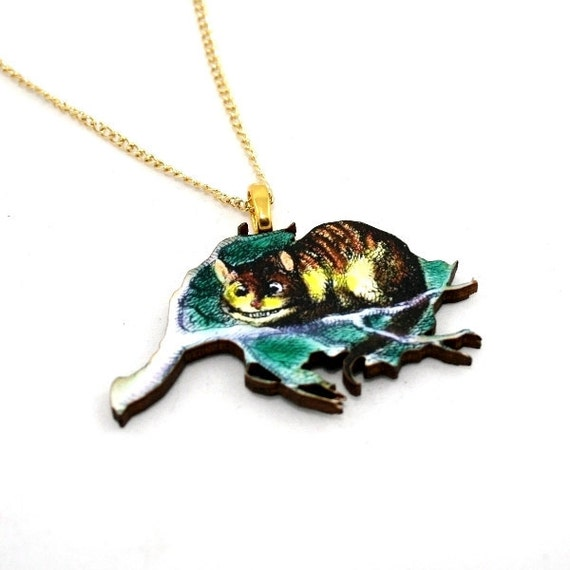 Cheshire Cat Alice In Wonderland Necklace Tenniel Illustration, Wood Jewelry