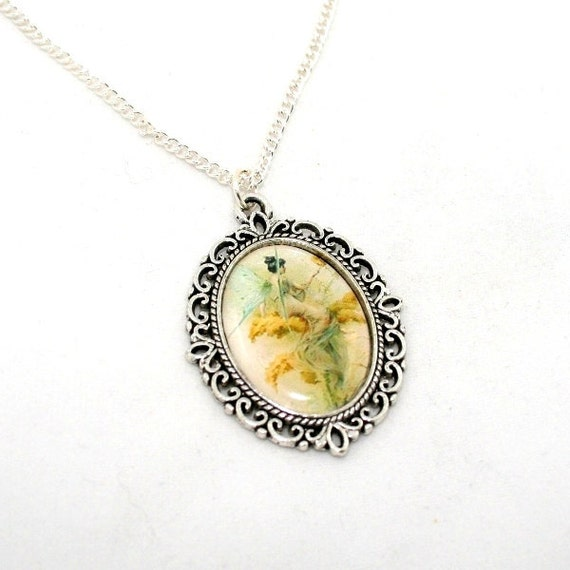Green Fairy Necklace, Pink Fairy Cameo, Faerie Illustration
