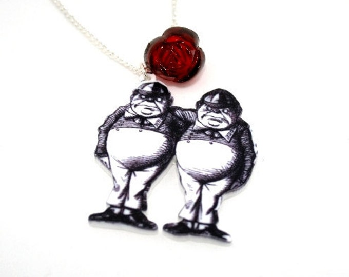 SALE Tweedle Dee Tweedle Dum Necklace, Acrylic Pendant, Alice In Wonderland