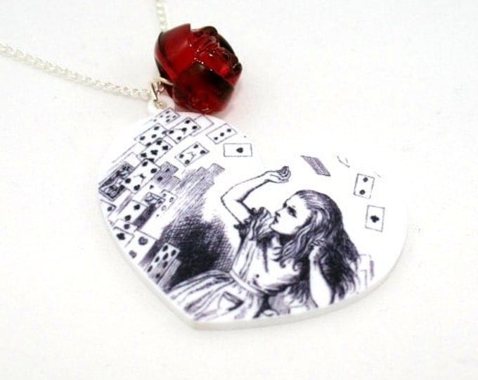 SALE Playing Cards Necklace, Tenniel Illustration, Alice In Wonderland