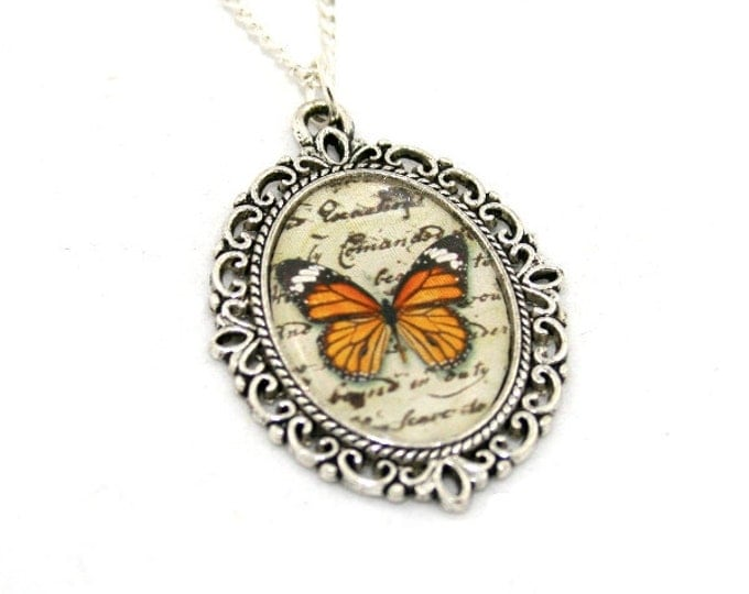 Orange Butterfly Necklace, Cameo Necklace, Nature Illustration, Insect Pendant, Woodland, Animal Necklace