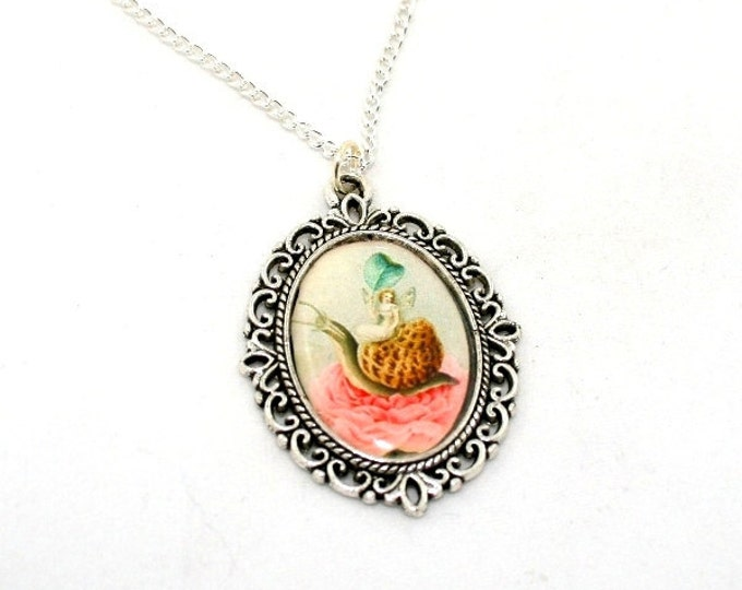 Fairy Necklace, Pink Fairy Cameo, Faerie Illustration, Snail Necklace