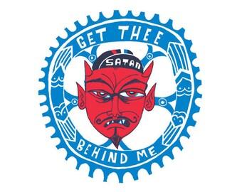 10/100 Get Thee Behind Me, Satan print. 12 inch square . Velodrome, Bike Racing, Devil