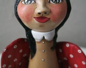 Della, Red Winged Anthropomorphic Primitve Appalachian Folk Art Doll
