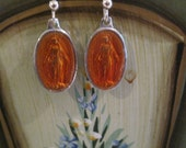 Oval Orange Mary Immaculate Conception of Mary Sterling silver Earrings