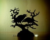 Raven Crow Cake Topper, 'Nevermore' Wedding Keepsake Topper, Dark Night Blackbirds Gothic Couple