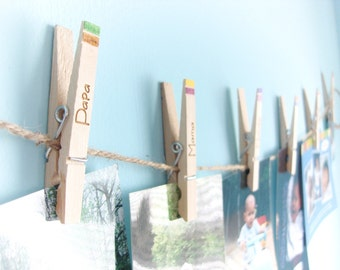 Engraved Clothespin Display Line, Customizable - Photographs, Artwork, To-Do Lists